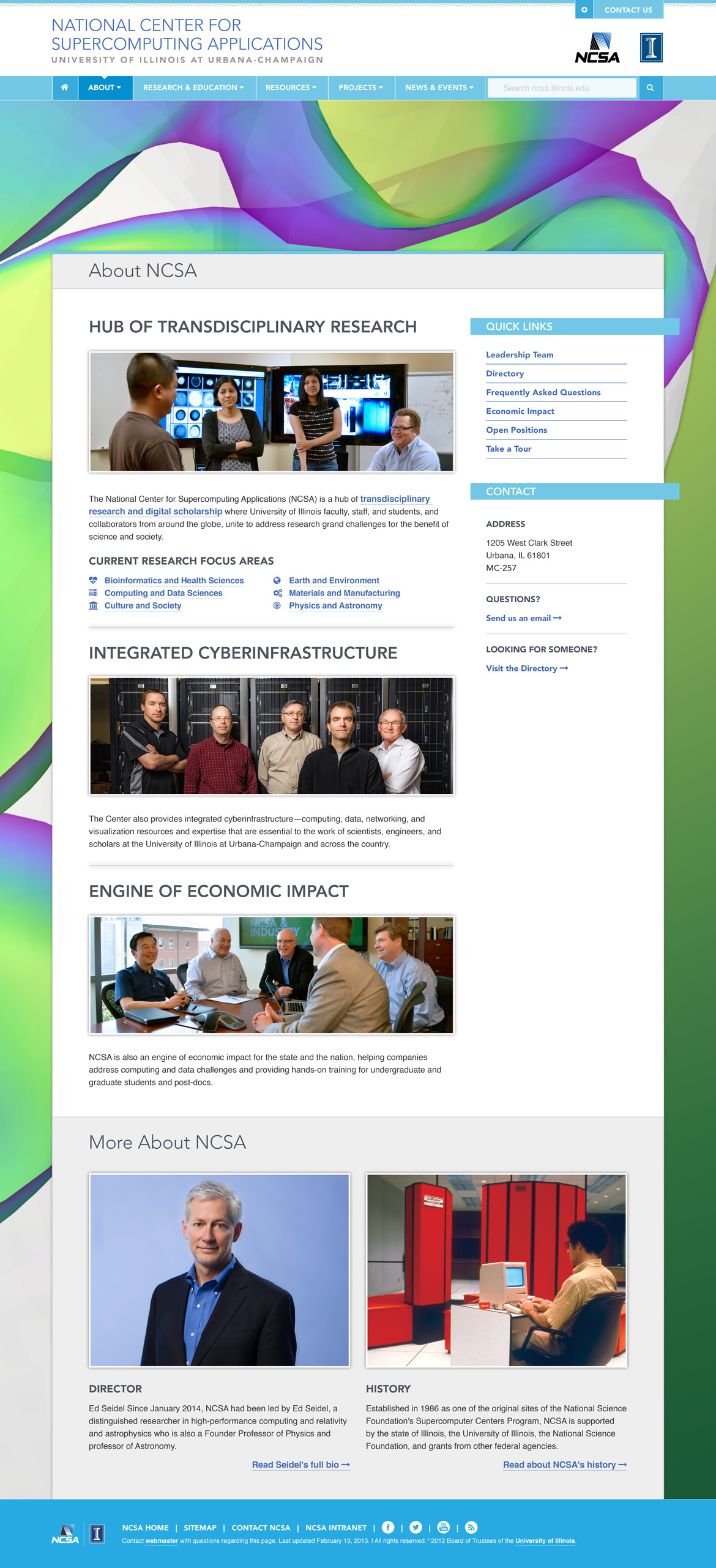 Mockup of NCSA website About page